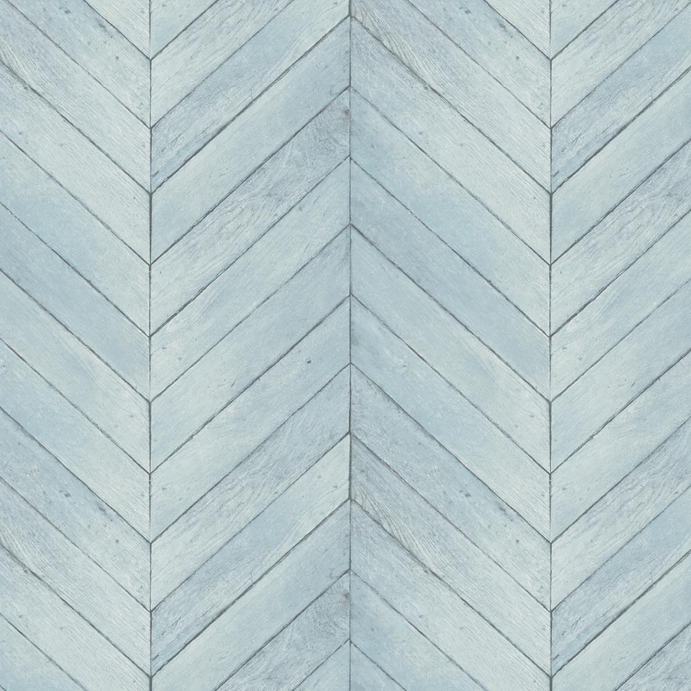Turquoise, Blue and Aqua Faux Chevron Wood Wallpaper
