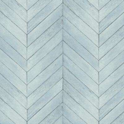 Turquoise, Blue and Aqua Faux Chevron Wood Wallpaper
