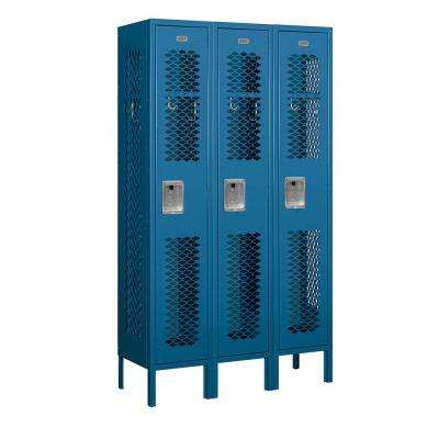71000 Series 3 Compartments Single Tier 36 In. W x 66 In. H x 12 In. D Vented Metal Locker Unassembled in Blue