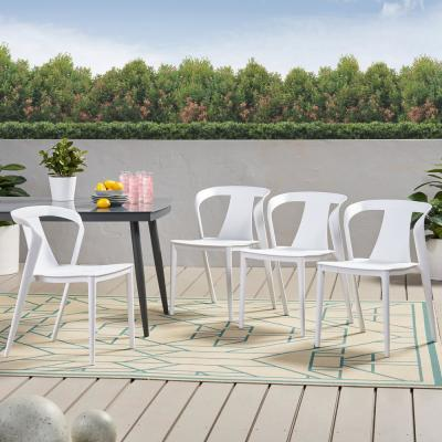 Orchid White Stackable Plastic Outdoor Dining Chair (4-Pack)