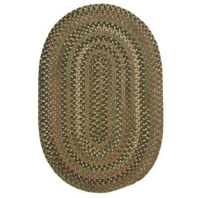 Newport Harbor Green 8 ft. x 10 ft. Braided Oval Area Rug