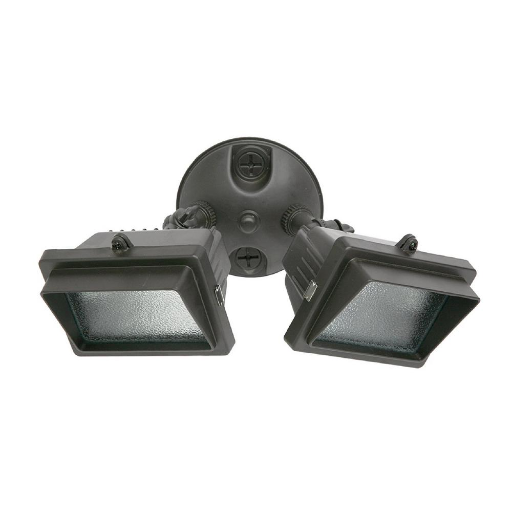 300-Watt Bronze Outdoor Landscape Flood Light with Twin Heads and Halogen