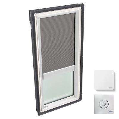 30-1/16 in. x 54-7/16 in. Fixed Deck-Mount Skylight w/ Laminated Low-E3 Glass, Grey Solar Powered Room Darkening Blind