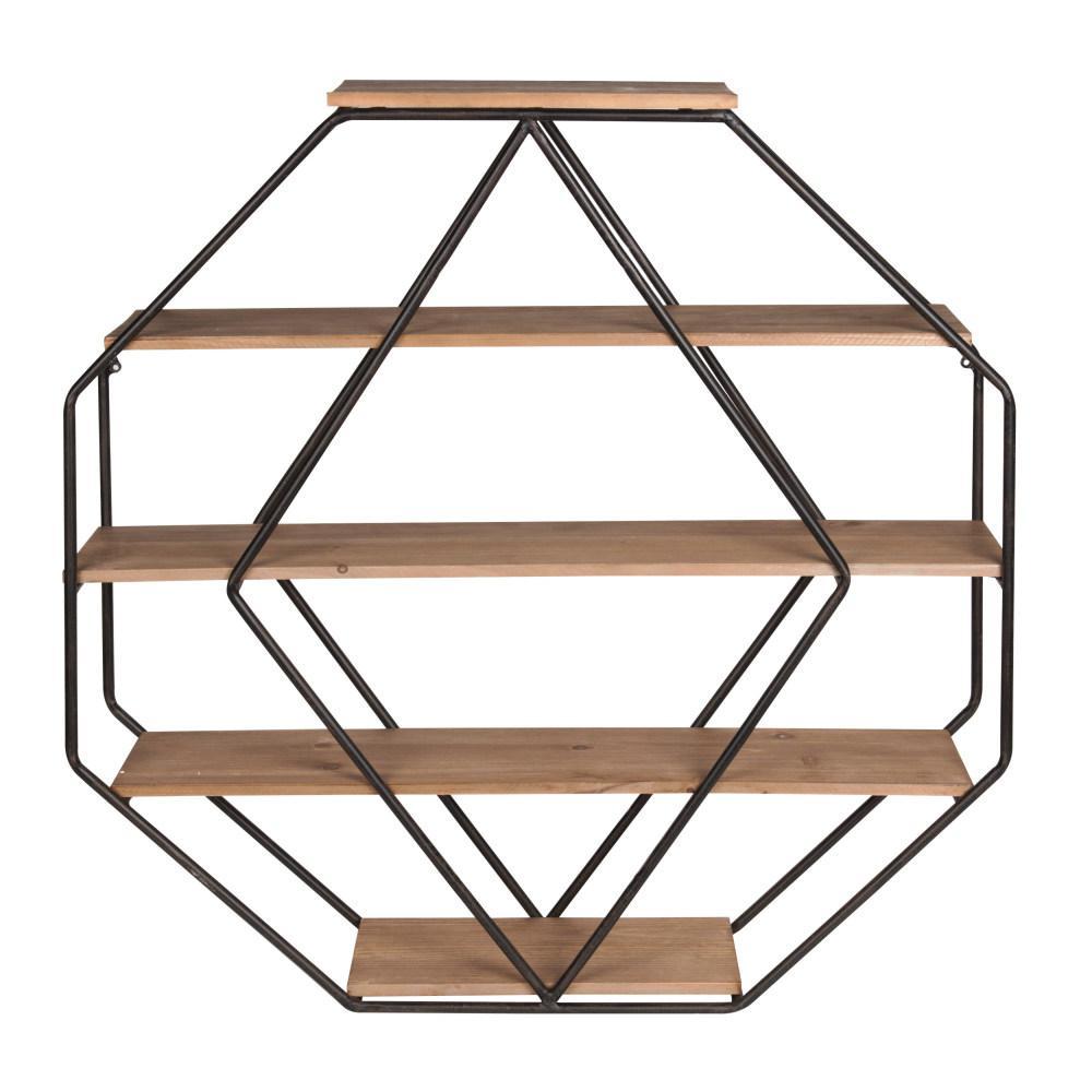 Lintz 7 in. x 31 in. x 31 in. Rustic Brown Metal Decorative Wall Shelf