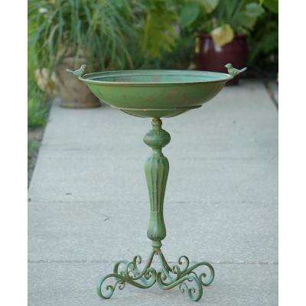 Pedestal Green Iron Birdbath