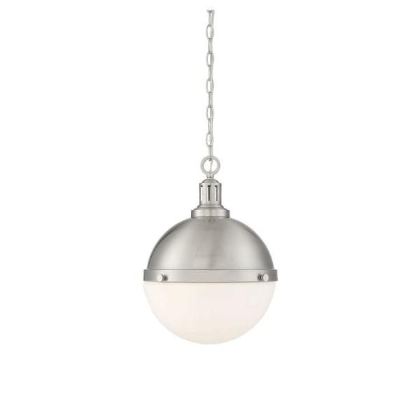 2-Light Satin Nickel Pendant with White Opal Glass