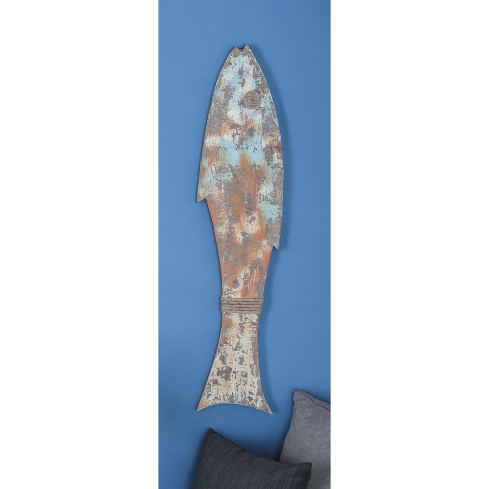 Litton Lane 9 In X 42 In Rustic Wooden Fish Wall Decor 84232 The
