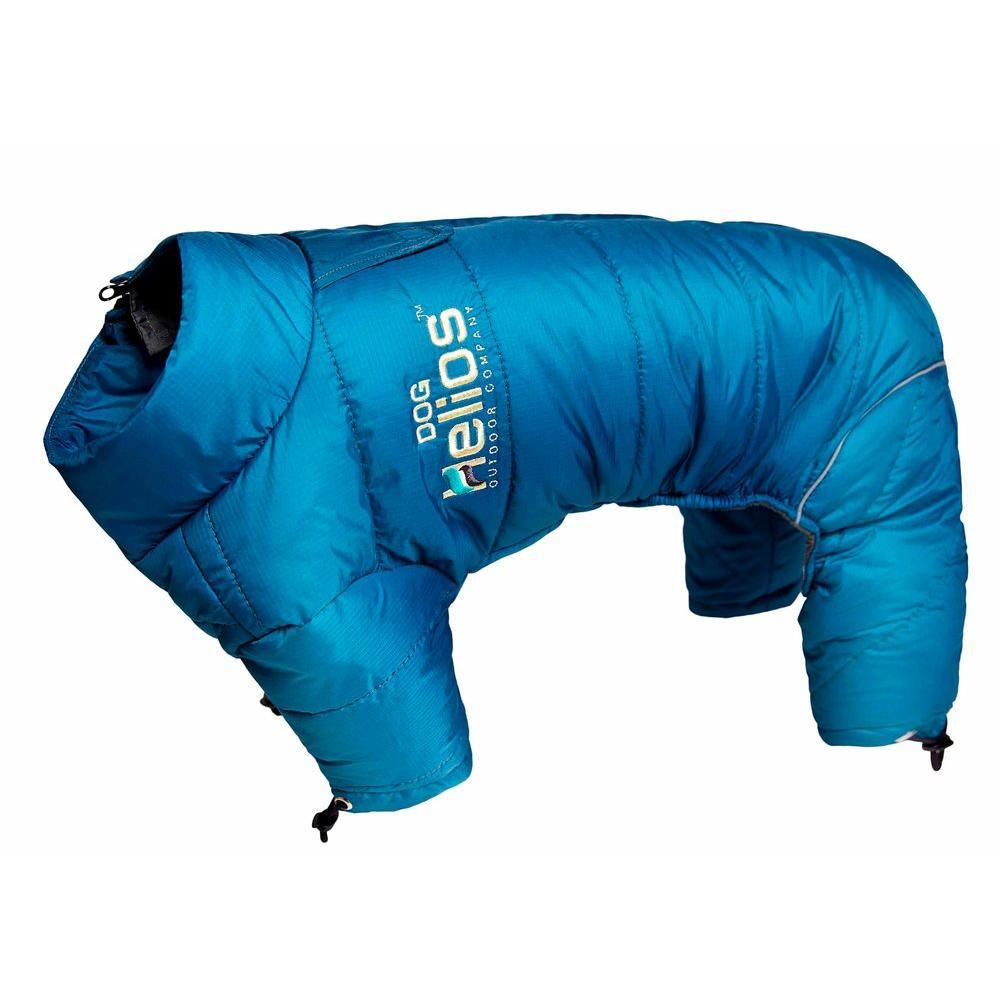 X-Large Blue Wave Thunder-crackle Full-Body Waded-Plush Adjustable and 3M Reflective Dog Jacket