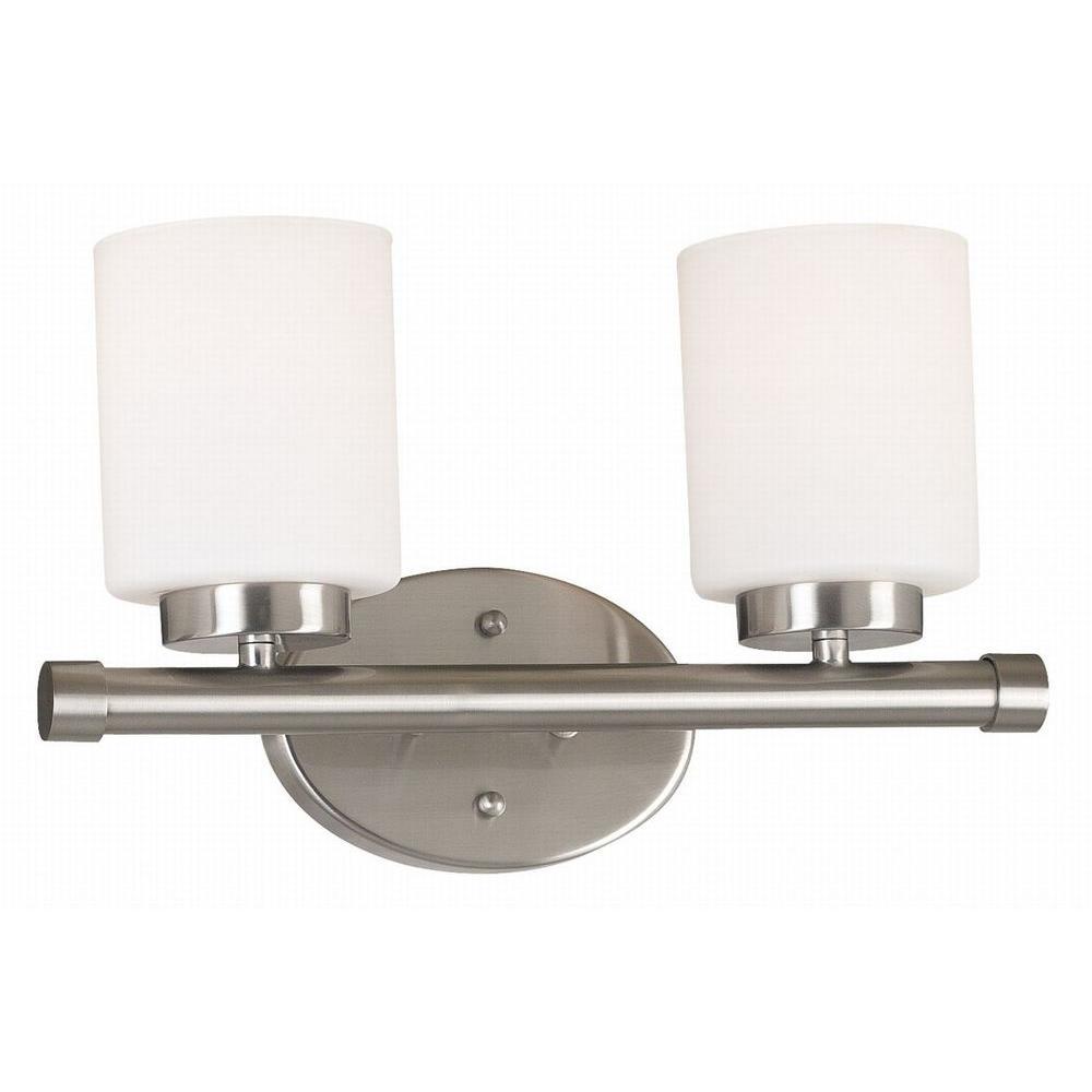 Mezzanine 2-Light Brushed Steel Vanity Light