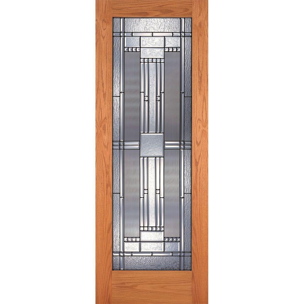 30 in. x 80 in. 1 Lite Unfinished Oak Preston Patina
