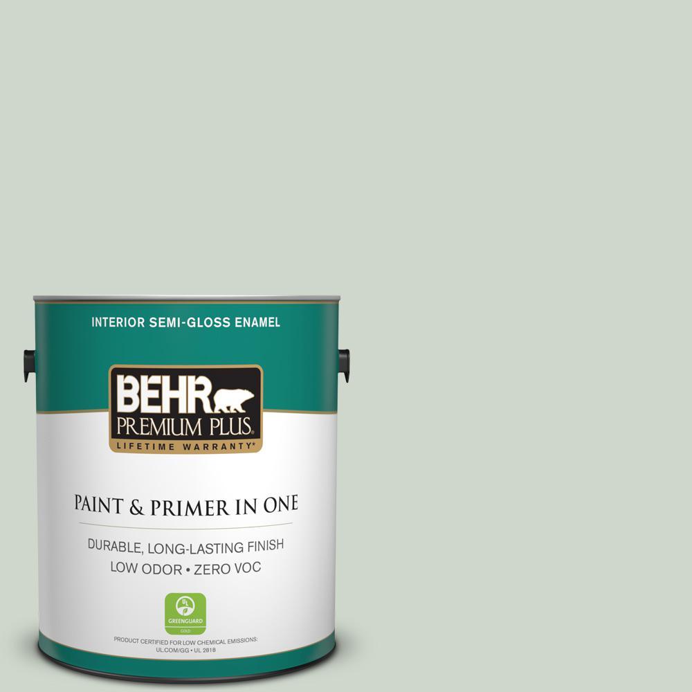 BEHR Premium Plus 1-gal. #ICC-48 Aspen Mist Zero VOC Semi-Gloss Enamel Interior Paint