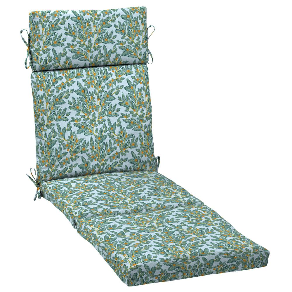 Arden Selections Artisans 72 in. x 21 in. Eugene Leaf Outdoor Chaise Lounge Cushion