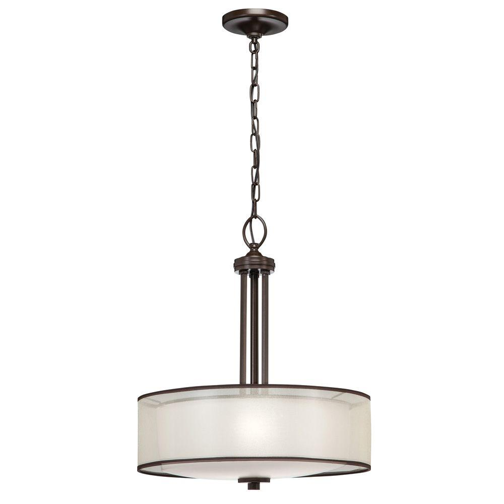 Hampton Bay 3 Light Bronze Pendant With Organza Shade