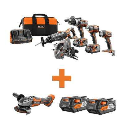 18-Volt Lithium-Ion Cordless 5-Tool Combo w/Bonus OCTANE Brushless Angle Grinder & (2) 4.0Ah Battery Packs