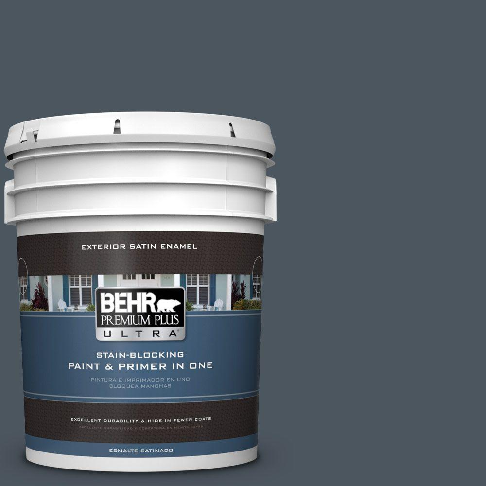 BEHR Premium Plus Ultra 5-gal. #N480-7 Midnight Blue Sati...