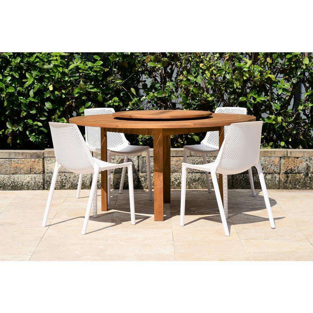 Malden Lazy Susan 5-Piece Wood Round Outdoor Dining Set
