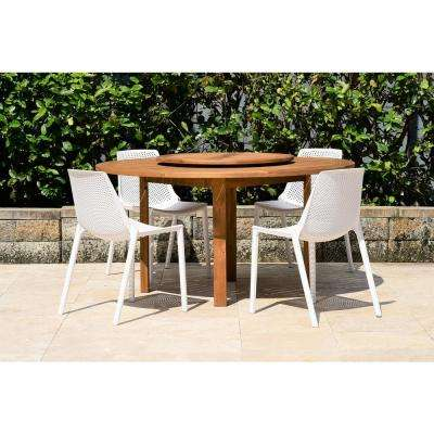 Quincy Lazy Susan 5-Piece Wood Round Outdoor Dining Set