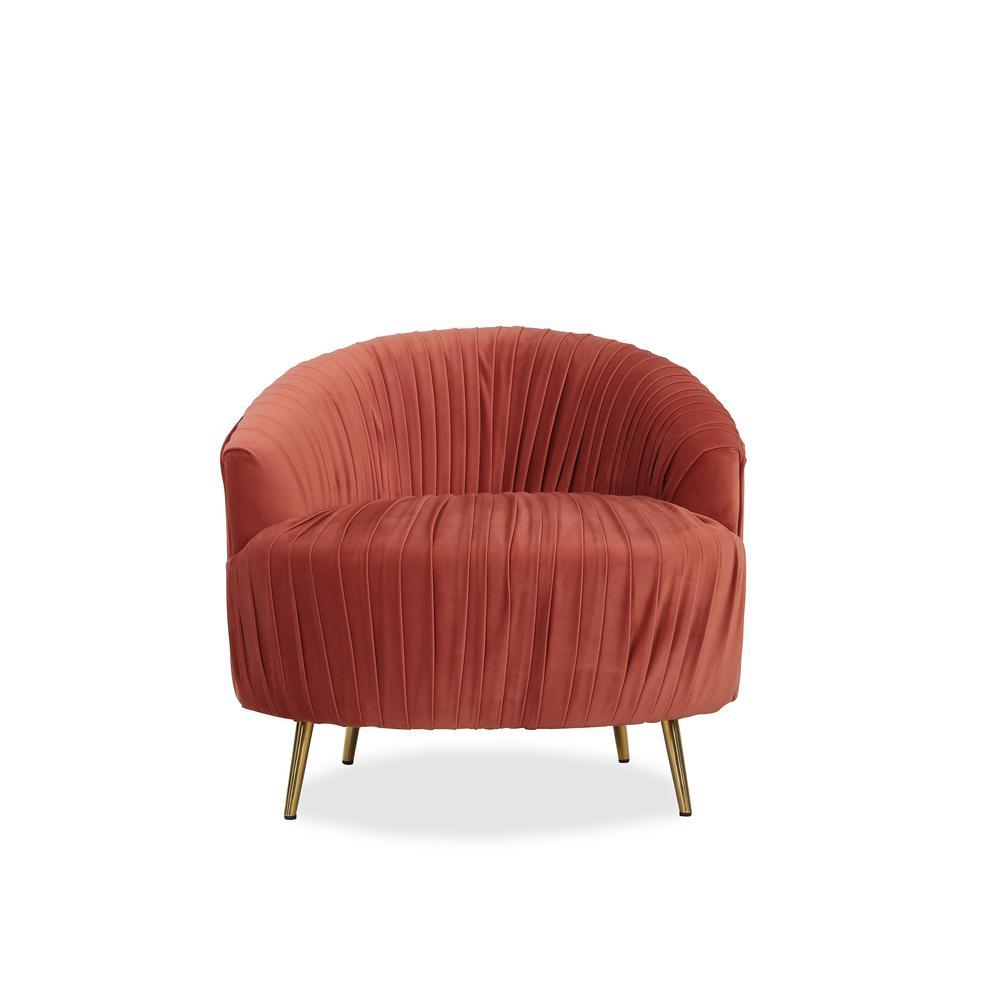 Handy Living Juliette Contemporary Ruched Barrel Chair In Orange Velvet