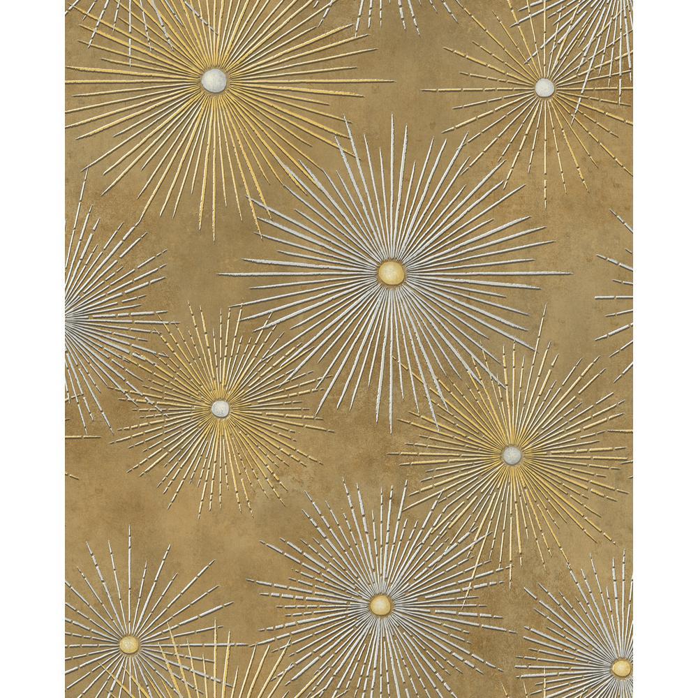Catwalk Metallic Gold and Rust Starburst Wallpaper