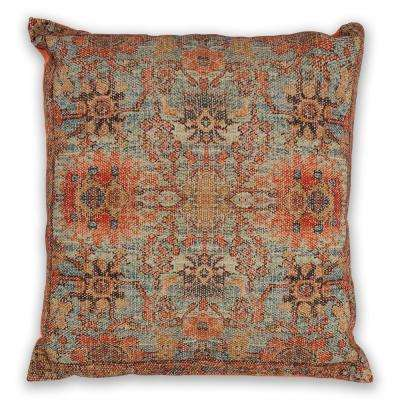 Teal/Coral Zena 18 in. x 18 in. Decorative Pillow