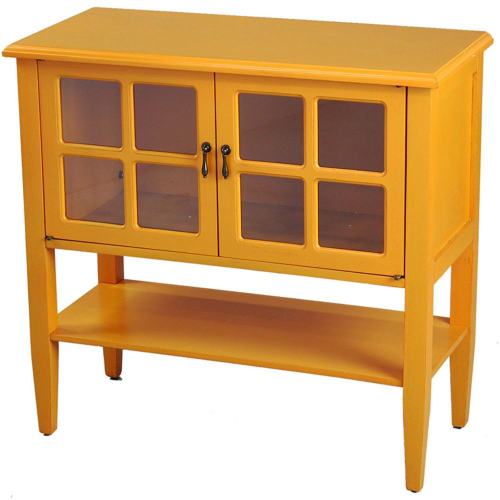 Unbranded Shelly Orange Wood Cabinet with a Drawer and ...