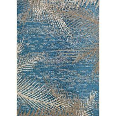 Monaco Tropical Palms Ocean 8 ft. x 11 ft. Indoor/Outdoor Area Rug