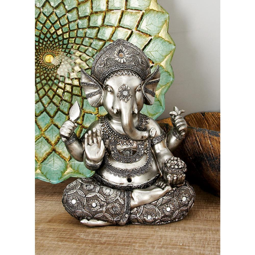 Polystone Silver Sitting Ganesh Sculpture