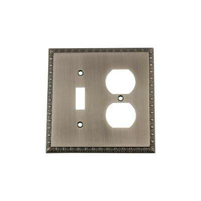 Egg and Dart Switch Plate with Toggle and Outlet in Antique Pewter