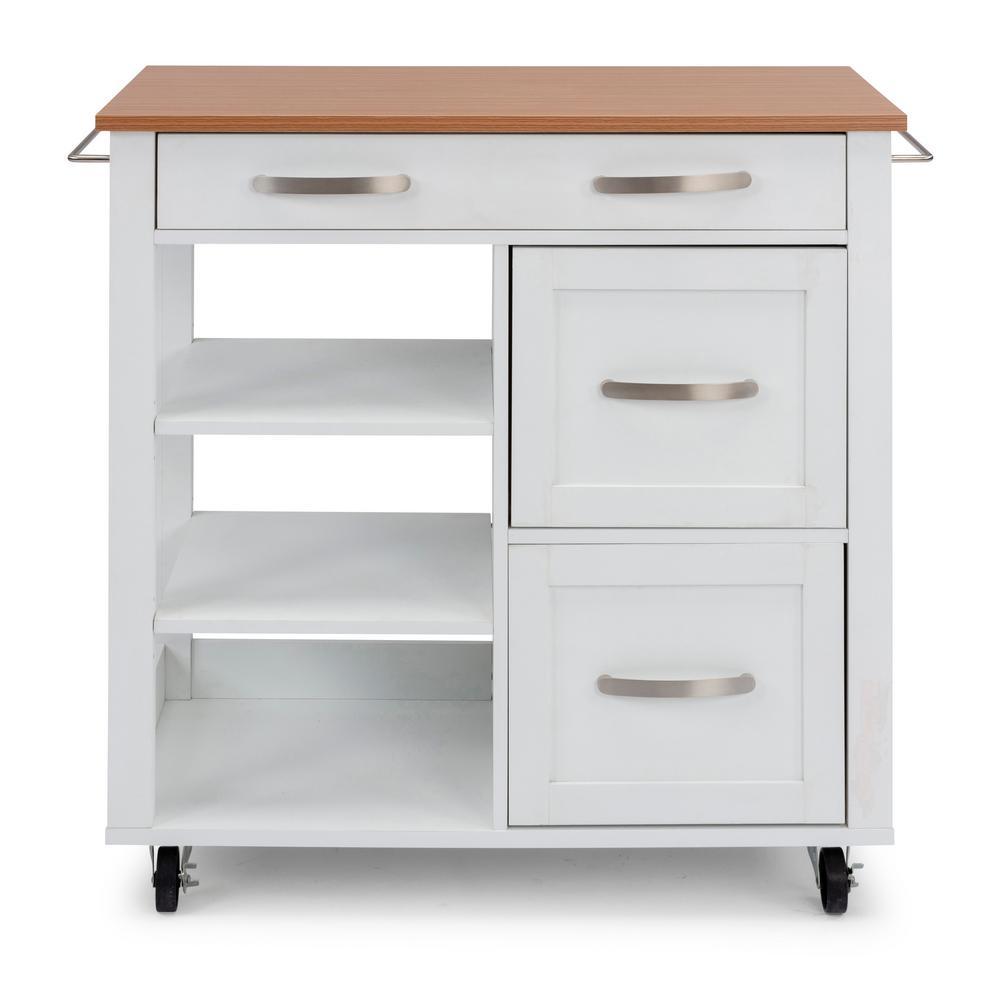 Storage Plus White Kitchen Cart