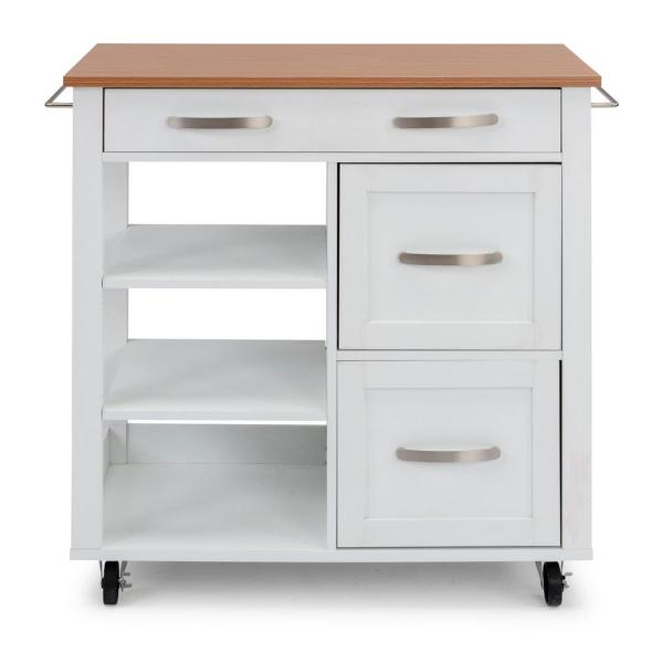 Belfast White Kitchen Cart with Natural Wood Top