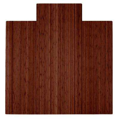 Walnut 55 in. x 57 in. Bamboo Roll-Up Chair Mat with Lip