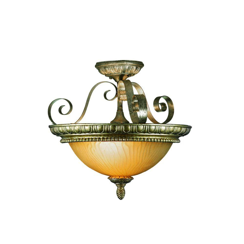 Eurofase Seraphine Collection 3-Light Semi-Flush Mount Silver and Gold Light-DISCONTINUED