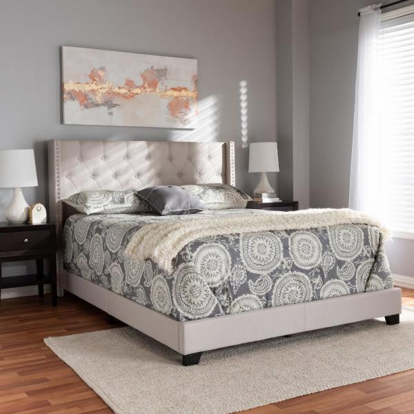 Baxton Studio Geneva Modern And Contemporary Fabric Upholstered Headboard Beige//Full Size//Contemporary