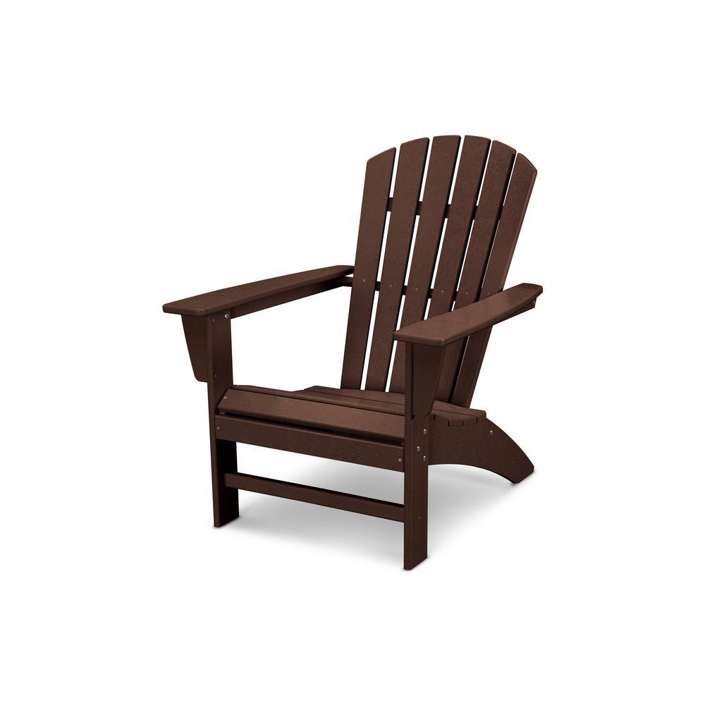Grant ParkTraditional Curveback Mahogany Plastic Outdoor Patio Adirondack Chair