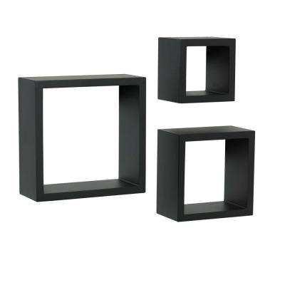 4 in. x 9 in. Floating Black Shadow Box Decorative Shelf Kit (3-Piece)