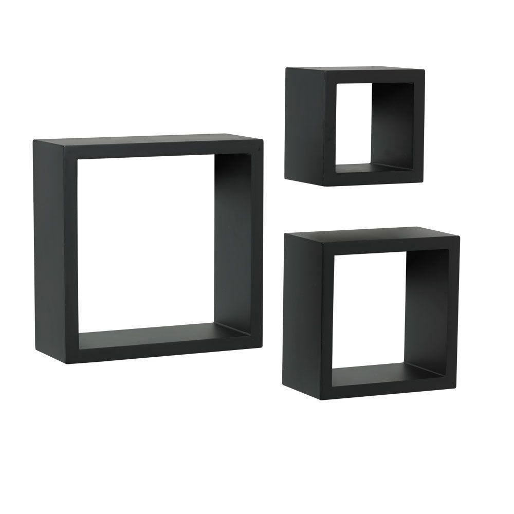 4 in. x 9 in. Floating Black Shadow Box Decorative Shelf Kit (3-Piece)