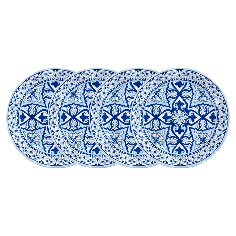 Talavera 4-Piece Blue Melamine Salad Plate Set