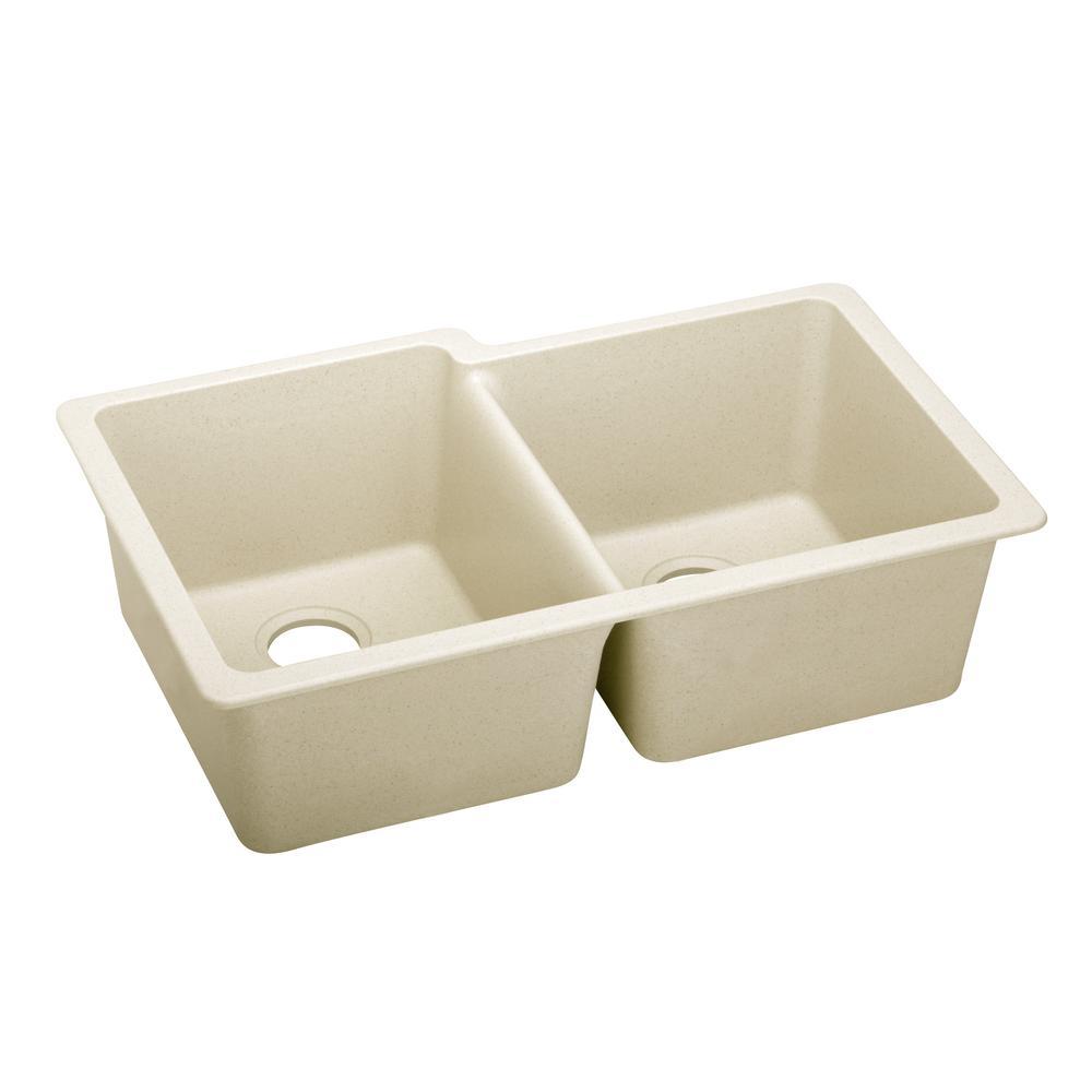 Premium Quartz Undermount Composite 33 in. Double Bowl Kitchen Sink in Parchment