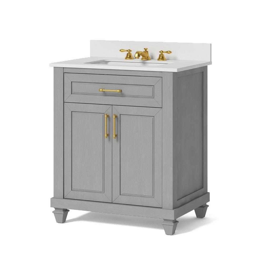 Whalen 30 in. W x 34.5 in. H Bath Vanity in Antique Grey with Engineered Stone Vanity Top in White with White Basin