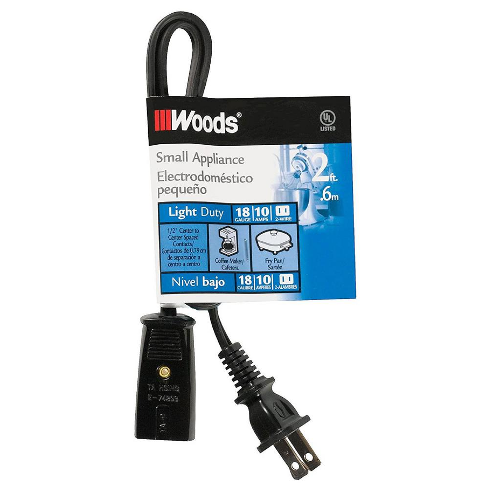 Woods 2 ft. 18/2 2-Wire 293 HPN Appliance Power Cord-293 - The Home ...