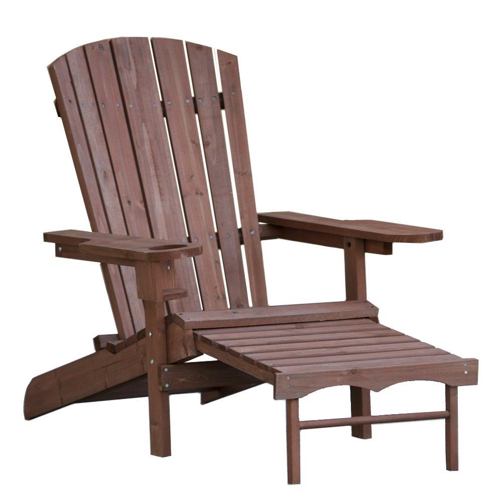 Classic Reclining Wood Muskoka Adirondack Chair with Ottoman and Cupholder