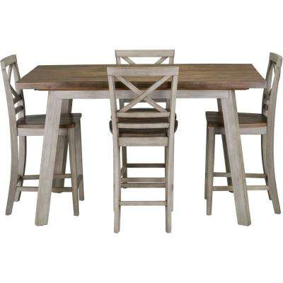 Garden Grove 5-Piece Rustic Gray Counter-Height Wood Dining Set