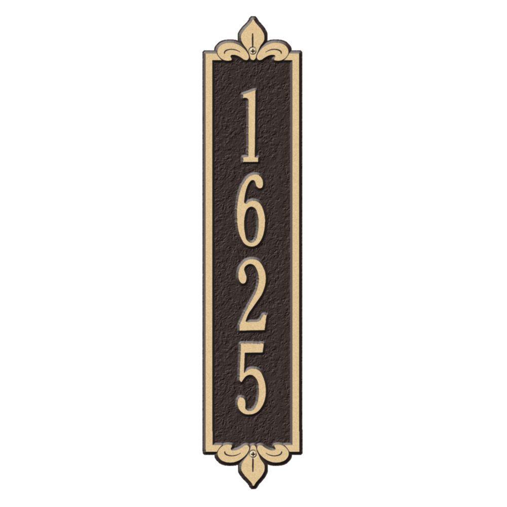 Rectangular Lyon Standard Wall 1-Line Vertical Address Plaque - Bronze/Gold