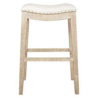 Harper 30 in. Bisque French Linen, Stone Wash Oak Bar Stool
