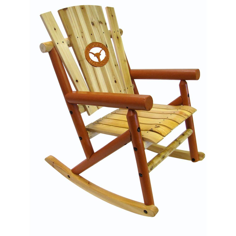 Leigh Country Aspen Wood Patio Outdoor Rocking Chair With Longhorn Medallion