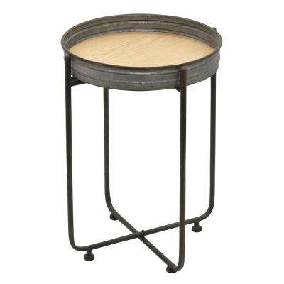 25 in. Gray Metal Side Table
