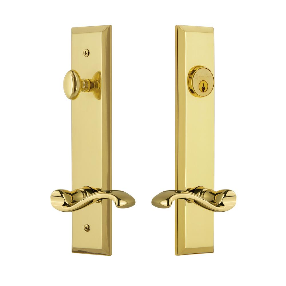 Fifth Avenue Tall Plate 2 3 8 In Backset Lifetime Brass Door Handleset With Portofino Lever