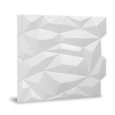 24 in. x 24 in. Glacier Decorative Vinyl Wall Paneling in White (9-Piece)