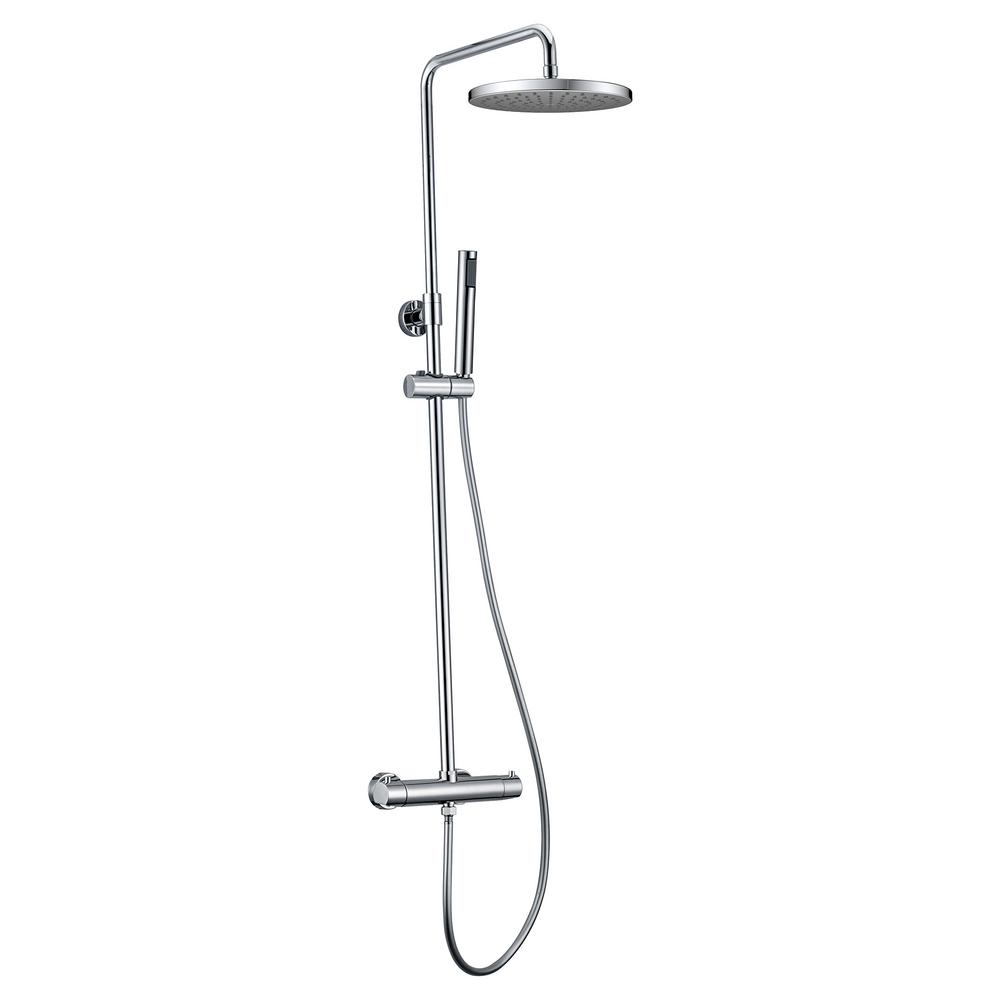 Jade Bath Pippa II Thermostatic Shower System with Shower Head and Hand Shower in Polished Chrome