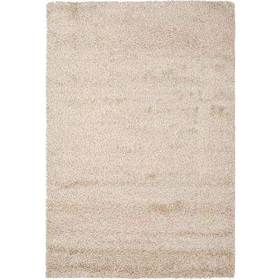 California Shag Beige 8 ft  x 10 ft  Area Rug